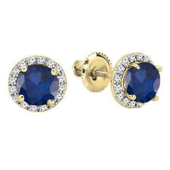 商品Dazzling Rock Dazzlingrock Collection 14K 6.5 MM Each Round Lab Created Blue Sapphire & White Diamond Ladies Stud Earrings, Yellow Gold图片