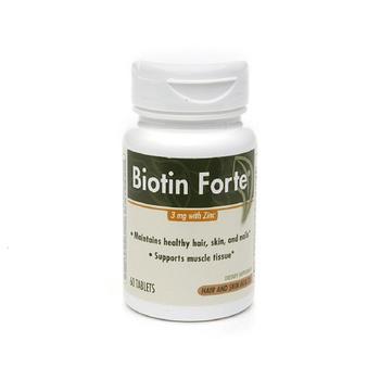 商品Biotin Forte 3Mg With Zinc Tablets, Hair And Skin Health - 60 Ea图片