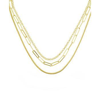 """商品Triple Row 16"""" Chain Necklace in Silver Plate or Gold Plate图片"""