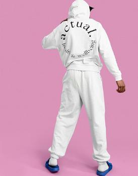 商品ASOS Actual Athleisure oversized hoodie in white marl with health and wellbeing large back print图片