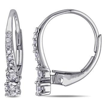 商品Amour 10 Karat White Gold LeverBack Hoop Earrings图片