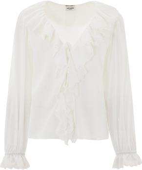 商品Saint Laurent Broderie Anglaise Frilled Tie Blouse - FR40 / White图片