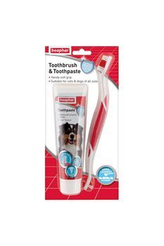商品Beaphar Dog And Cat Dental Kit With Toothbrush And Toothpaste Liquid (May Vary) (3.5oz)图片