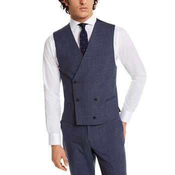 商品Men's Classic-Fit UltraFlex Navy Windowpane Suit Separate Vest图片