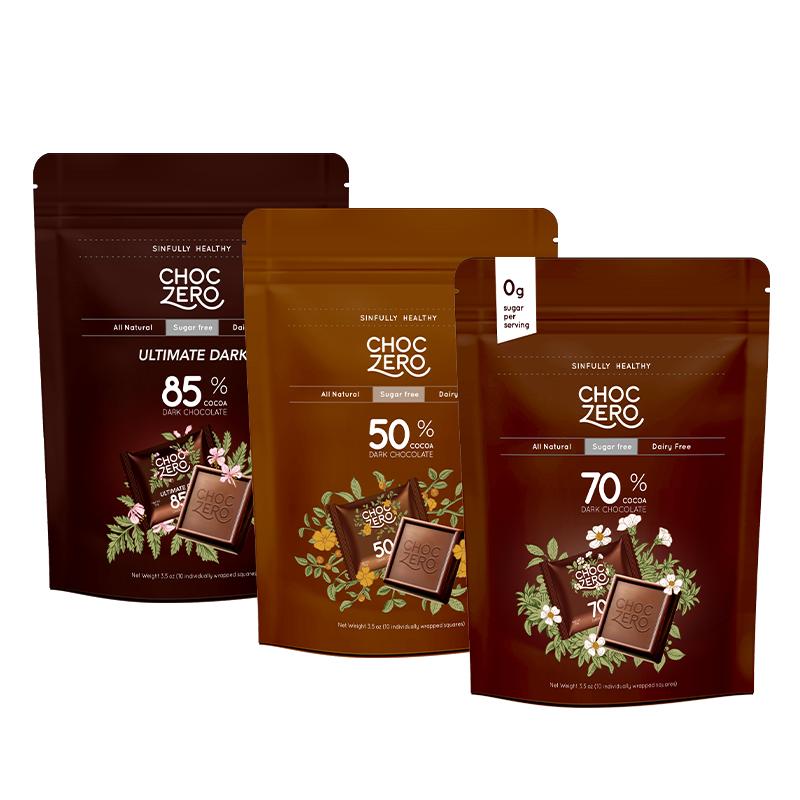 商品零巧方块系列无糖黑巧组合装50%可可70%黑巧85%特浓黑巧克力组合装图片