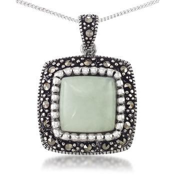 """商品Jade (11 x 11mm) & Marcasite Square Pendant on 18"""" Chain in Sterling Silver图片"""