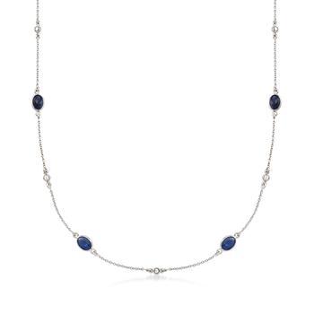 商品Ross-Simons Sapphire and .Diamond Station Necklace in Sterling Silver图片