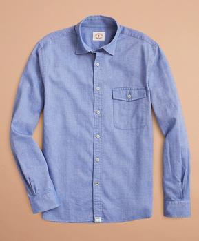商品Brushed Herringbone Striped Cotton Shirt图片