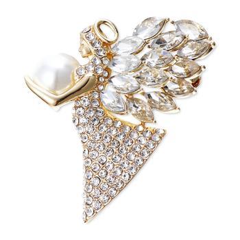 商品Gold-Tone Crystal & Imitation Pearl Angel Pin, Created for Macy's图片