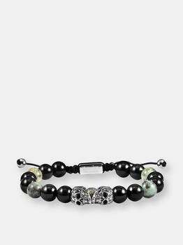 商品Double Skull Adjustable Bracelet With Genuine African Turquoise and Black Onyx Beads图片