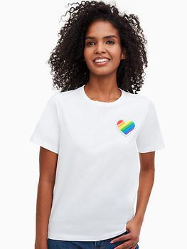 商品casual rainbow heart patch tee图片
