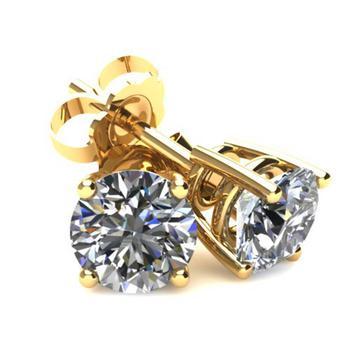 商品.85Ct Round Brilliant Cut Natural Diamond Stud Earrings in 14K Gold Basket Setting图片