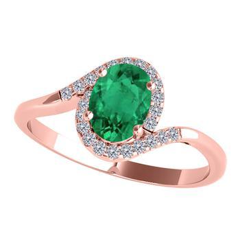 商品Maulijewels 1.00 Carat Emerald & Diamond Gemstone Ring In 10K Rose Gold图片