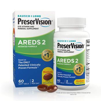商品PreserVision AREDS 2 Eye Vitamin & Mineral Supplement, Contains Lutein, Vitamin C, Zeaxanthin, Zinc & Vitamin E, 60 Mini Softgels (Packaging May Vary)图片