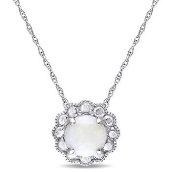 商品Amour 10k White Gold Opal Flower Birthstone Pendant With Chain图片