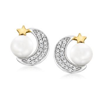 商品Ross-Simons 5-5.5mm Cultured Pearl and . Diamond Celestial Earrings in 2-Tone Sterling Silver图片