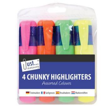商品Just Stationery 4 Chunky Highlighters (Multicolored) (One Size)图片
