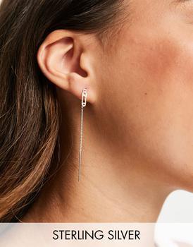 商品ASOS DESIGN sterling silver pull through earrings with safety pin charm图片