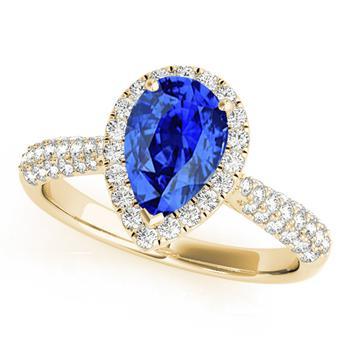 商品Maulijewels 10k Yellow Gold Wedding Ring With 1 Carat Pear Shape Tanzanite And Diamonds图片