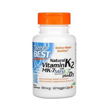商品Doctors Best Natural Vitamin K2 MK-7 with MenaQ7 plus 180 mcg Vitamin D3 Capsules,60 Ea图片