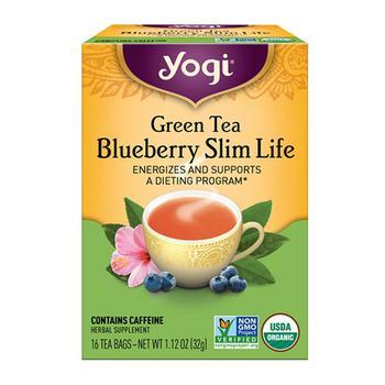 商品Yogi Green Tea Blueberry Slim Life Herbal Supplement Tea Bags - 16 Ea图片
