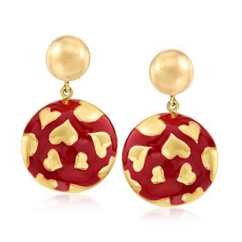 商品Ross-Simons Italian 18kt Gold Over Sterling and Red Enamel Heart Circle Drop Earrings图片
