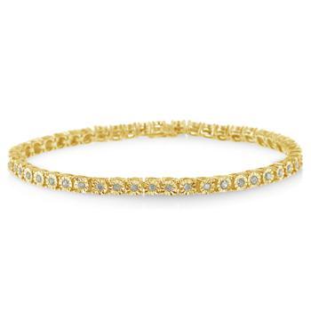 商品Haus of Brilliance 10k Yellow Gold Plated Sterling Silver 1ct. TDW Rose Cut Diamond Miracle Tennis Bracelet (I-J, I2-I3)图片