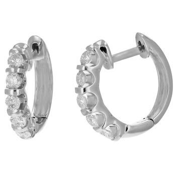 商品1 cttw Classic Diamond Hoop Earrings 14K White Gold Channel Set 3/4 Inch图片