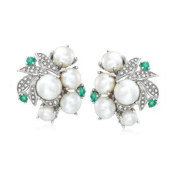商品Ross-Simons 5-8mm Cultured Pearl, . Emerald and . Diamond Earrings in Sterling Silver图片