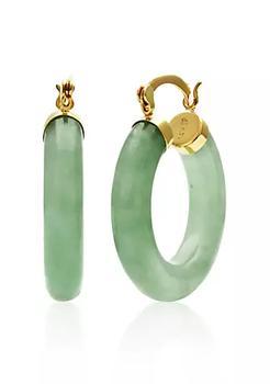 商品14k Yellow Gold Jade Hoop Earrings图片