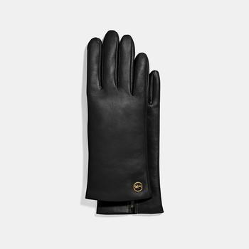 商品COACH Horse And Carriage Plaque Leather Tech Gloves图片