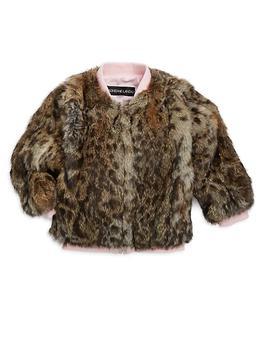 商品Little Girl's & Girl's Leopard Print Fur Varsity Jacket图片