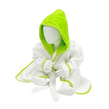 商品A&R Towels Baby/Toddler Babiezz Hooded Bathrobe (White/Lime Green) (3/12 Months)图片
