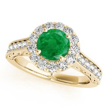 商品Maulijewels 1.40 Carat Round Shape Emerald And Diamond Wedding Ring in 14K Yellow Gold图片