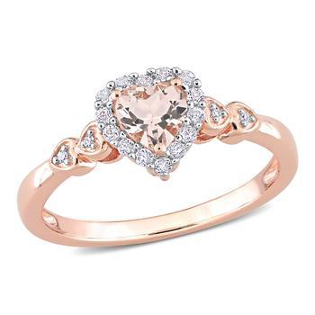 商品Amour 5/8 CT TGW Morganite White Topaz and Diamond Accent Heart Ring in Rose Plated Sterling Silver图片