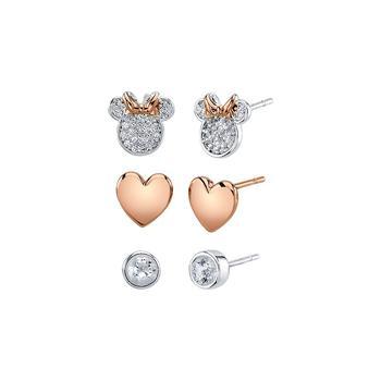 商品镀纯银双色米妮耳钉3对装图片