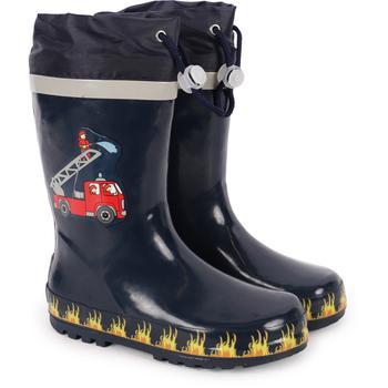 商品Firefighter logo rain boots in navy blue图片