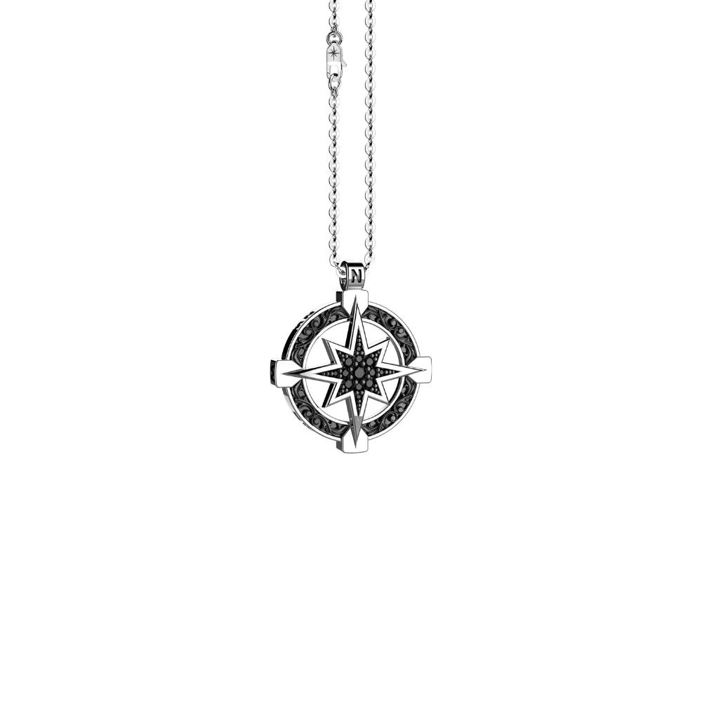 商品Silver necklace with compass rose pendant with flamboyant designs, embellished with natural stones.图片