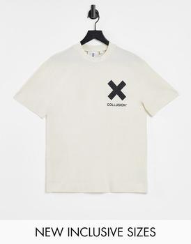 商品COLLUSION Unisex logo organic cotton t-shirt in off-white图片