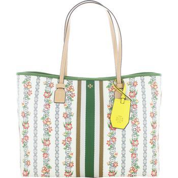 商品Tory Burch Womens Gemini Link Floral Canvas Tote Handbag图片