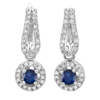 商品Dazzling Rock Dazzlingrock Collection 14K Round Blue Sapphire & White Diamond Ladies Halo Style Dangling Drop Earrings, White Gold图片