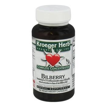商品Kroeger Herb Complete Concentrates Bilberry Vegetarian Capsules, 90 Ea图片