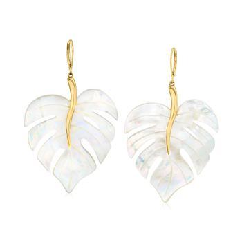 商品Ross-Simons 18kt Gold Over Sterling Leaf Drop Earrings图片