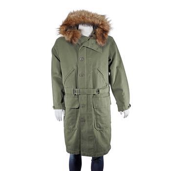 商品Burberry Double-faced Cotton Silk Hooded Parka With Warmer In Olive, Brand Size 46 (US Size 36)图片