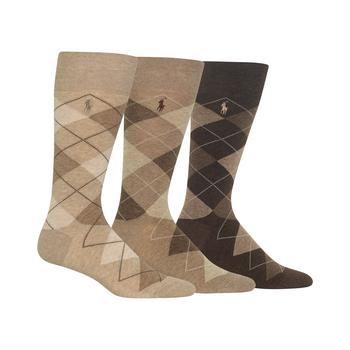 商品Ralph Lauren Men's Socks, Dress Argyle Crew 3 Pack Socks图片