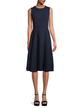 商品Solid-Colored Fit-&-Flare Dress图片