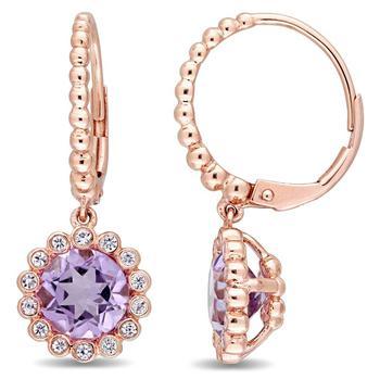 商品Amour 10K Rose Gold Rose de France White Sapphire Floral Drop Earrings图片