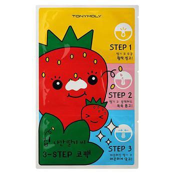 商品TONYMOLY Runaway Strawberry Seeds 3 Step Nose Pack图片