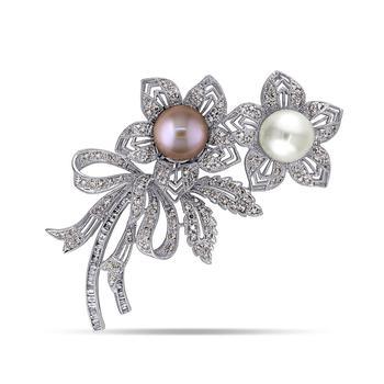 商品South Sea, Pink Cultured Freshwater Pearl and Brown and White Diamond (2 ct .t.w.) Floral Bouquet Brooch in 18k White Gold图片