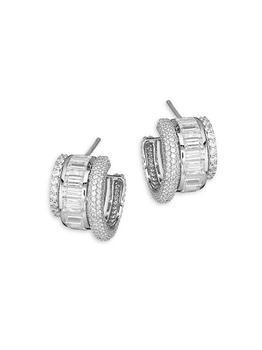 商品Stacked Sterling Silver & Cubic Zirconia Triple-Hoop Earrings图片